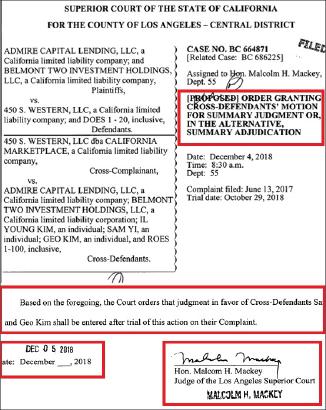 ▲ LA카운티지방법원은 지난해 12월 5일 이현순회장측이 샘리등 브로커를 상대로 제기한 혐의를 사실상 기각했다.