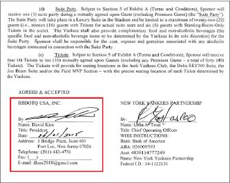 ▲ 비비디오티큐와 뉴욕양키스와의 스폰서십 계약은 미국법인 사장인 데이빗 김이 서명했으며 , 비비큐측은 계약을 이행하지 못해 결국 뉴욕주 법원에 피소됐다.