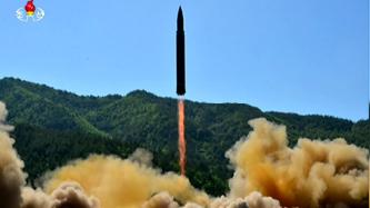 ▲북한이 ICBM 미사일을 시험 발사하고 있다.