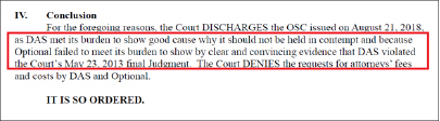 ▲ 연방법원은 다스는 2013년 판결을 어긴 사실이 없음을 입증한 반면 옵셔널은 다스는 판결을 위반했음을 입증하지 못했다고 판결했다.
