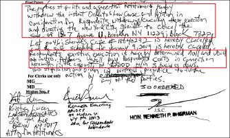 ▲ 브루클린지방법원 재판부는 유지성씨 브루클린상가에 대한 경매를 일단 취소하고 무효화하는 대신 유지성씨는 종업원측에 경매관련비용 2500달러를 3일내에 지급하라고 명령했다.