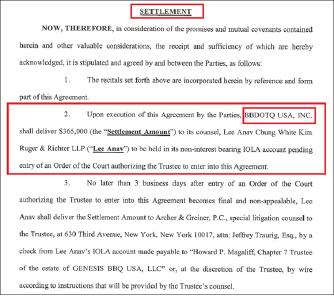 ▲ 연방법원이 선임한 비비큐 미국법인 파산관재인은 비비큐측이 2014년 6월부터 파산을 신청한 2016년 5월까지 회사재산을 사기양도했다고 소송을 제기, 2018년 7월 비비큐의 새법인이 36만여달러를 파산법인에 지급하기로 합의했다.