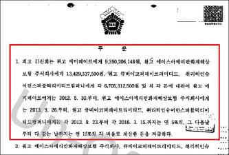 ▲ 서울중앙지법 2017년 1월 26일 363억원배상 판결문