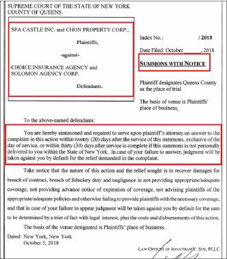 ▲ 2018년 10월 31일 스파캐슬측은 솔로몬에이전시와 초이스에이전시를 상대로 소송을 제기했지만 정작 소송장은 제출하지 않았다.