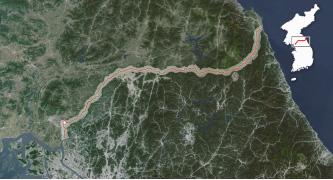 ▲한반도에 그려진 휴전선