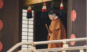 ▲ 아키히토 국왕이 지난달 30일 퇴위식에 나서고 있다.