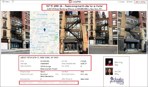 ▲ 157 웨스트 24스트릿건물은 올해 2월 1300만달러에 부동산시장에 매물로 나와있는 상태이다.