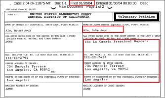 ▲ 남가주한국학원 김덕순이사도 지난 2004년 1월 28일 남편 김명국씨와 함께 캘리포니아중부연방법원에  파산을 신청, 6월 4일 파산승인을 받은 것으로 확인됐다. 김씨는 이에 앞서 자신이 운영하던 라 카나다 프리스쿨을 2002년 12월 폐업했고, 오나미코퍼레이션은 파산을 신청한 것으로 드러났다.