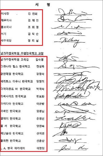 ▲ 한국학원측은 청원서와 별도의 문서에 한국학원 이사진과 사무총장, 한국학교교장 13명의 서명을 받아서 첨부했다.