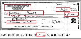 ▲ 한인이민사박물관은 2018년 세금보고서에 이민사박물관이 3만달러를 기부했다고 기재된 것은 뉴욕한인회측에 직접 기부한 것이 아니라 공사업체에 한인회관 천정 수리비를 대납해 준것이라고 밝혔다. 이민사박물관이 발행한 수표의 메모란에는 '뮤지엄 컨스트럭션'이라고 기재돼 있다.