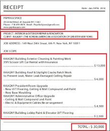 ▲ 한인이민사박물관은 파트리카스페이스측으로 부터 지난해 1월 19일자로 공사비영수증을 받았다고 밝혔으나, 이 서류에는 돈을 받았다는 내용이나, 서류번호, 영수인측인 건설사측 서명은 없다.