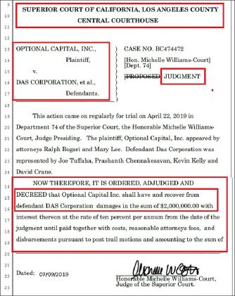 ▲ 로스앤젤레스연방법원은 지난 9일 다스가 옵셔널캐피탈측에 피해를 입혔으므로 2백만달러를 옵셔널측에 지급하라고 판결했다.