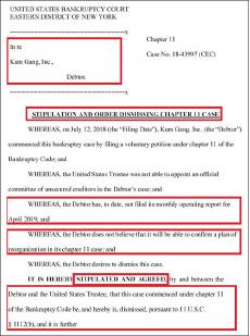 ▲ 연방2지구 파산관재위원회는 지난 6월 7일 유지성 금강산사장과 변호인측이 '4월 부터 월간운영계획서를 제출하지 않았으며, 구조조정계획을 이행할 자신이 없다, 그러므로 파산보호신청을 기각해 달라'고 요청했다며, 유사장측이 보낸 서류를 증거로 제출했다.