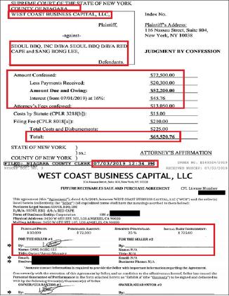 ▲ LA한인 이모씨가 지난 4월 7만2500달러를 백일에 걸쳐 하루 725달러씩 갚기로 하고 5만달러를 빌린뒤 28일간 이를 갚고 하루 날짜를 어기자, 기업형일수업체가 뉴욕주 나이아가라카운티 지방법원에 소송을 제기, 미상환금액의 25%를 변호사비용으로 가산해 6만여달러를 갚으라는 판결이 내려졌다.