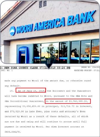 ▲ 우리아메리카은행은 지난 7월 22일 프리즘 어소시에이츠등이 465만달러의 대출금중 374만여달러를 갚지 않았으므로, 대출자와 연대보증인등이 이를 전액상환하라고 요구했다.