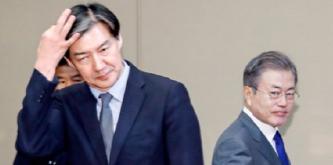 ▲문재인 대통령(오른편)과 조국 법무장관