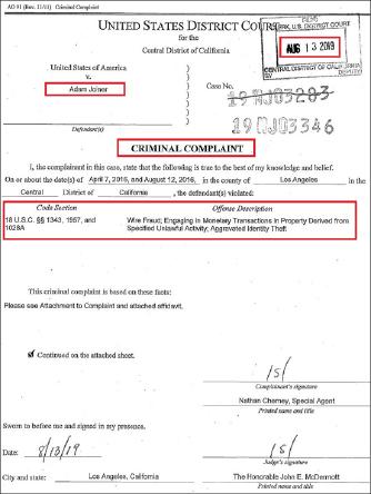 ▲ 연방검찰은 지난달 13일 비공개기소장을 제출, 아담 조이너 체포에 나섰으며, 지난달 27일 조이너를 체포하고 28일 이를 전격발표했다.
