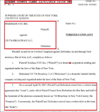 ▲ 트리하우스는 지난해 11월 7일 김종훈 유디치과원장이 소유한 뉴욕맨해튼 736 브로드웨이의 빌딩을 상대로 손해배상소송을 제기했다.