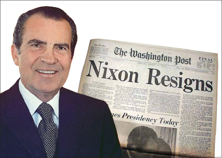▲ 닉슨 대통령과 1974년 워터게이트로 사임 당시 워싱턴 포스트 1면 기사