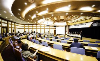 ▲ 서울에서 개최된 세계한인언론인 대회에서 비례대표 10석을 요구했다.