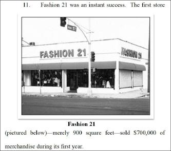 ▲ 포에버21은 장도원-장진숙부부가 9백스퀘어규모의 패션21매장을 처음오픈했으며, 첫해 매출이 70만달러에 달했다고 설명했다.