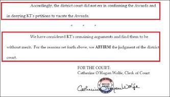 ▲ 제2연방항소법원은 지난 9월 12일 KT의 항소에 대해 1심판결에 하자가 없으며, 중재판정을 취소해 달라는 KT의 청원을 기각했다. 또 KT의 다른 요청등에 대해서도 KT의 실익이 없다며 모두 기각하고, 1심판결을 재확인했다.