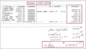 ▲ 랜로드측은 금강산이 체납한 렌트비가 153만6천여달러에 달한다며 장부를 제출했다.