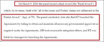 ▲ 국제상업회의소 중재법원은 일부 패소판정에도 불구하고 KT가 ABS와 합의하지 않자 지난 2018년 3월 9일 KT에 최종패소판정을 내렸다.