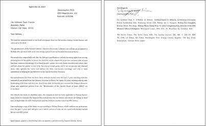 ▲지난 9월 25일 교황청에 보낸 건의문