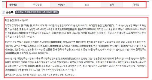 ▲ 국가보훈처 웹사이트에 게재된 황기환선생 공훈록