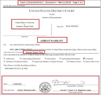 ▲ 메사추세츠연방법원은 지난 11월 25일 박기남 에듀보스톤원장에 대해 체포영장을 발부했다.