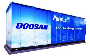 ▲ 두산퓨얼셀 납품업체 AFS홈페이지에 게재된 두산연료전지-컨테이너박스내에 수퍼모듈이 장착된다.