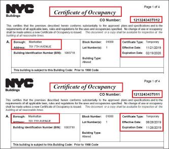 ▲ 뉴욕시 빌딩국 확인결과 이 건물은 최종준공승인을 얻지 못한채 모두 12차레 임시사용허가를 받았으며, 지금도 오는 2월 19일까지 3개월 임시사용허가를 받은 상태로 밝혀졌다.