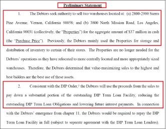 ▲ 포에버21은 지난 10일 델라웨어연방파산법원에 제출한 부동산 매각 신청서에서 2채의 대형창고를 매각, 3700만달러를 조달할 것이라며 매각승인을 요청했다.