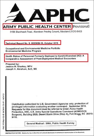 ▲ 미육군공공의료센터 2015년 10월, K2기지와 주한미군기지 근무 미군 건강보고서