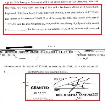 ▲ 서폭카운티지방법원은 지난해 1월 23일 민씨에게 미상환대출금 5만7천여달러와 이자등을 갚으라며 민씨에게 패소판결을 내렸다.