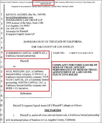 ▲ 김일영박사측이 지분전체를 소유한 에버그린캐피탈이 지난해 12월 24일 크리스마스 이브의 오후에 가주마켓과 담보채권자 3명을 상대로 관리인지명소송을 제기했다.