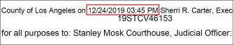▲ 에버그린캐피탈의 소송장이 접수된 시각은 2019년 12월 24일 오후 3시45분으로 확인됐다.