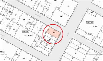 ▲ 삼성전자 대형건물 신축설이 나도는 부동산 지적도, 해당 부동산은 32스트릿과 5애비뉴 교차지점에 위치해 있다.