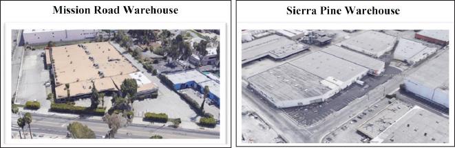 ▲ (왼쪽) 포에버21 미션로드 창고,  ▲ 포에버21 시에라파인 창고