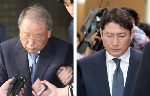 ▲ 효성그룹 조석래(왼쪽) 명예회장과 조현준 회장 부자