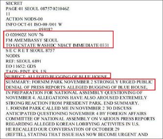 ▲ 1976년 11월 2일 스나이더 주한미국대사는 국무부로 타전한 비밀전문에서 '한국정부가 청와대도청의혹에 대해 미국측이 제발 부인해 달라고 요청했다'고 밝혔다.