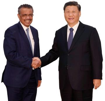 ▲ 중국 시진핑 주석과 WHO 애드한놈 사무 총장,
