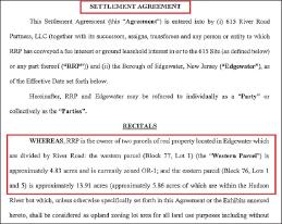 ▲ 재개발승인합의서 - 엣지워터타운과 615랜로드는 지난해 11월 12일 재개발승인에 합의하고 뉴저지주법원과 뉴저지연방법원에 계류중인 모든 소송을 취하하기로 했다.