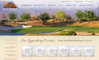 ▲ PGA웨스트 홈페이지 - 6개의 명문골프장을 보유하고 있다.
