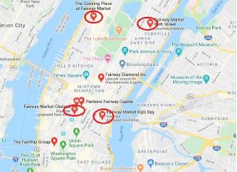 ▲ 페어웨이 맨해튼 매장 현황 - 보고파는 지도에 표시된 4개매장외 맨해튼 125스트릿 및 브롱스 팰햄의 매장 1개등 모두 6개를 인수했다.