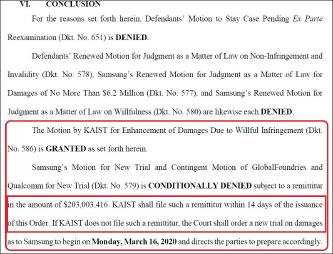 ▲ 텍사스동부연방법원은 지난달 13일 카이스트가 2억3백만달러의 배상금을 받아들인다면 삼성이 요구한 배상금책정 새 재판요구를 기각할 것이며, 카이스트가 이를 받아들이지 않으면 3월 16일 재판을 새로 시작할 것이라고 밝혔다.