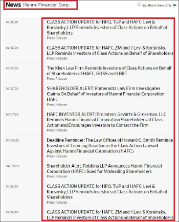 ▲ 집단소송전문로펌인 로젠로펌이 지난달 26일 한미은행을 상대로 소송을 제기한 이래, 지난 17일까지 모두 14개의 로펌이 집단소송에 참여하기로 하고 피해자를 모집중인 것으로 확인됐다.