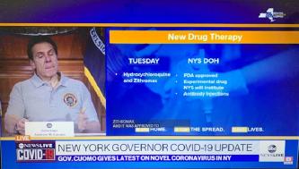 ▲ 쿠오모 뉴욕주지사는 지난달 24일부터 연방정부 승인을 받아 하이드록시클로로퀸과 아지스로 마이신투약을 시작한다고 밝혔다.