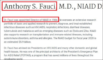 ▲ 앤소니 파우치박사는 지난 1984년 레이건 전 대통령때 감염병연구소장에 임명된뒤 올해 79세의 고령에도 불구하고 37년째 소장자리를 지키고 있다.